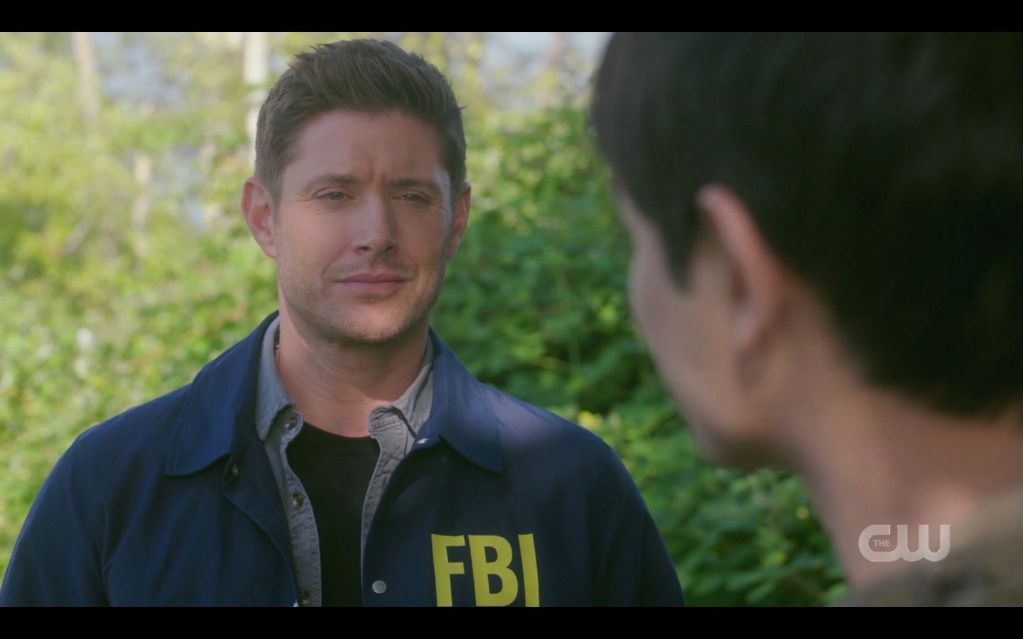 Dean Winchester in FBI jacket with Kevin Tran outside wormhole SPN 1502