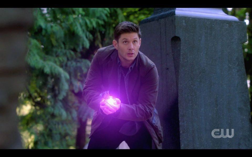 Dean Winchester tossing glowing bomb SPN 1503