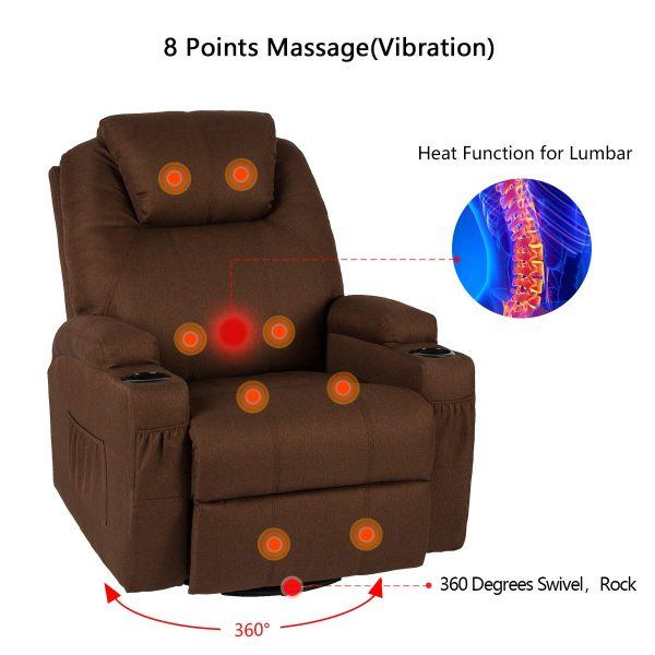 Esright Coffee Fabric Massage Recliner Chair 2019 hottest holiday home gifts