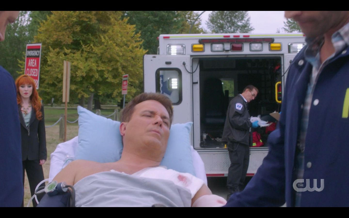 Ketch being wheeled into ambulence after Dean shot him Raising Hell