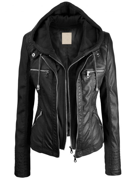 Lock and Love Women's Hooded Faux Leather Moto Biker Jacket 2019 hottest holiday fashion gifts