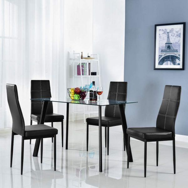 Modern 5 Pieces Dining Table Set Glass Top Dining Table 2019 hottest holiday home gifts