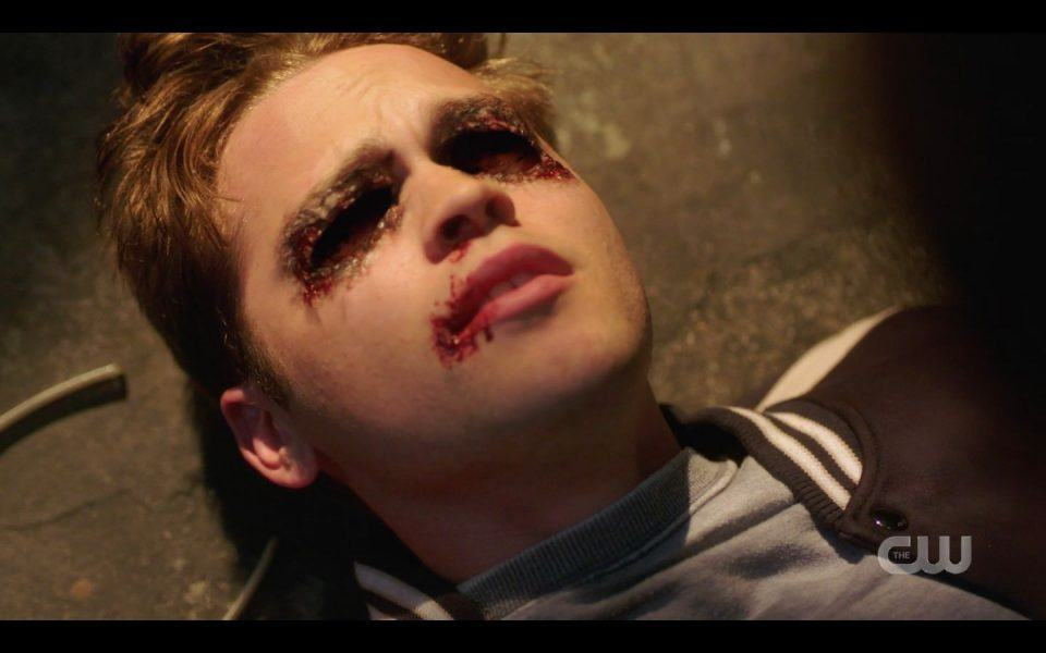 SPN Jack Belphagor dead with burnt sunglasses on eyes