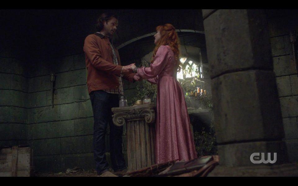 Sam Winchester holding Rowenas hands Rupture