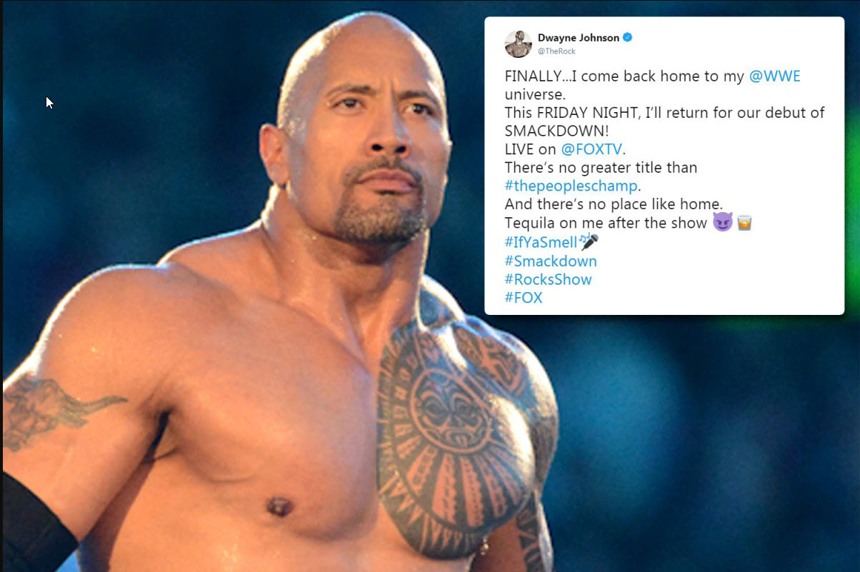 dwayne johnson back on wwe on fox