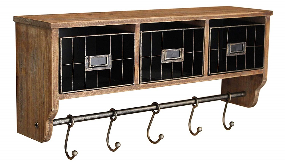 ustic Coat Rack Wall Mounted Shelf with Hooks & Baskets hottest 2019 holiday home gifts