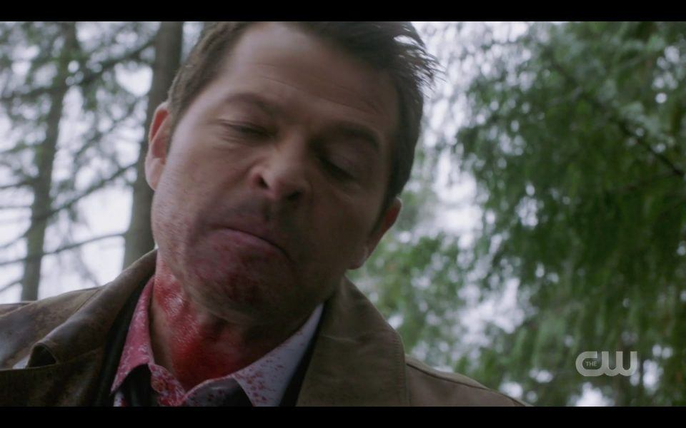 Castiel beating the heck out of a man while Mellie and son watch SPN
