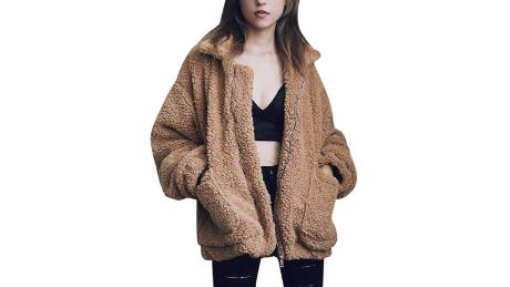 Comeon Women's casual lapel fuzzy zipper coat 2019 hot deals