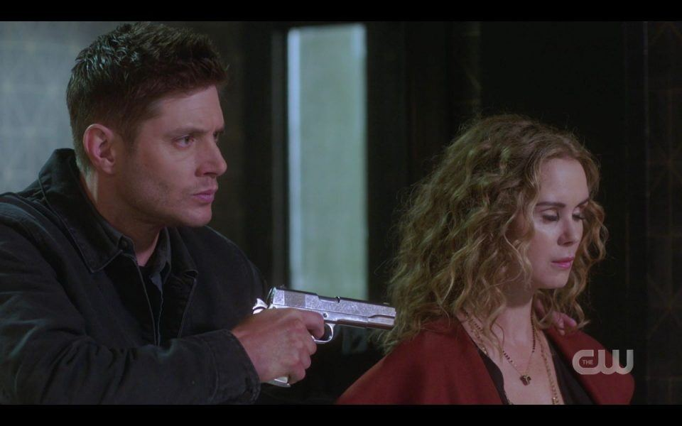 Dean Winchester holds gun on mom witch SPN
