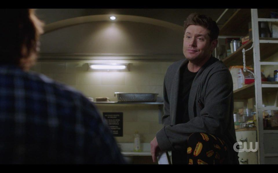 Dean Winchester in dead guy robe with hot dog pajamas SPN