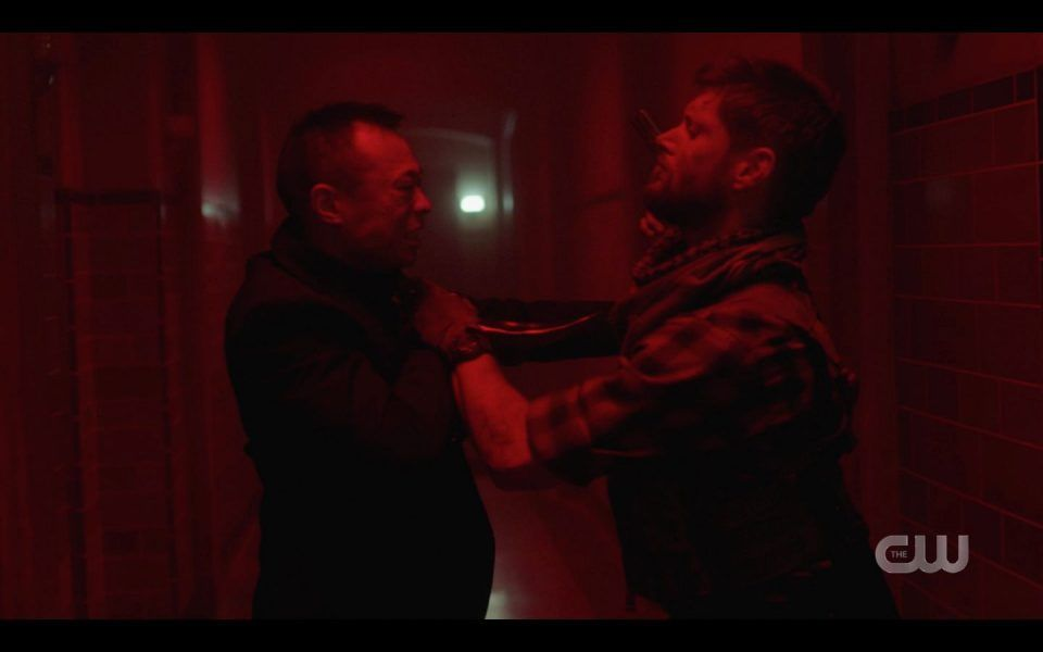 Jensen Ackles with rob Hayter practising John Wick movies for Atomic Monsters