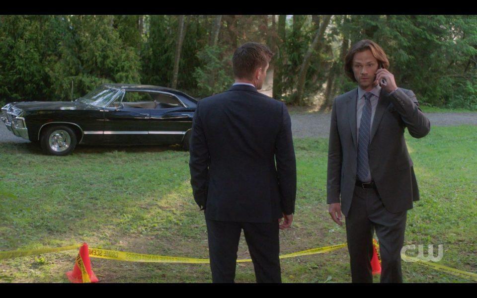 Sam Dean Winchester at crime scene for Atomic Monsters