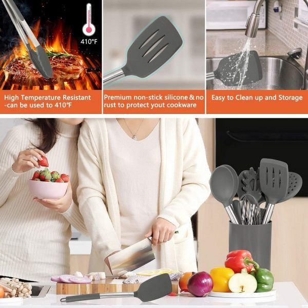 Silicone Cooking Utensil Set, AILUKI Kitchen Utensils 2019 best holiday gifts