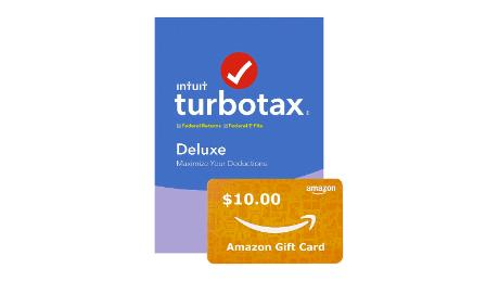 Turbo Tax Deluxe 2019 software with $10 gift card holiday deals