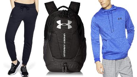 nder Armour apparel, footwear and accessories sweats duffle bad and shirt