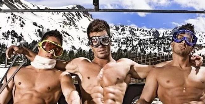 three sexy shirtless men in ski lift mttg