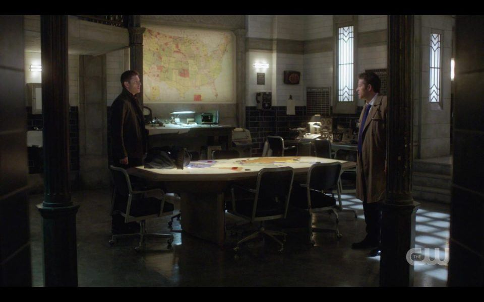 Dean Winchester Castiel in bunker angry Supernatural
