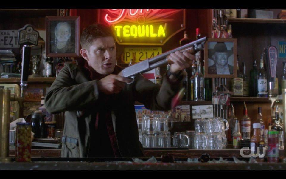 Dean Winchester in gun fight at bar SPN Last Call