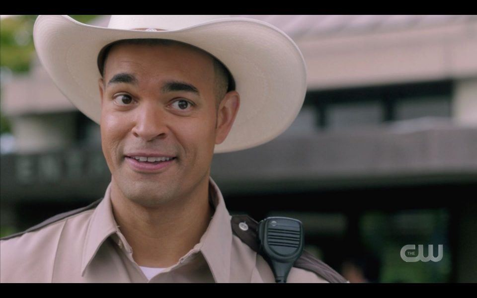 Hot latin sheriff saying Dean Winchester hot enough to be in movies