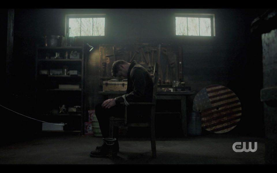 Jensen Ackles Dean wakes up bound to chair SPN