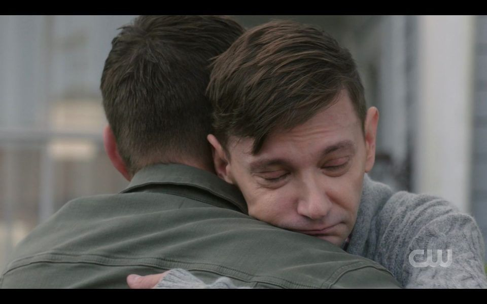 Garth hugging Dean Winchester tight your the best hero SPN 1510