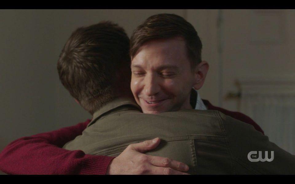 Jensen Ackles hugging newly gay DJ Quaals on Supernatural set
