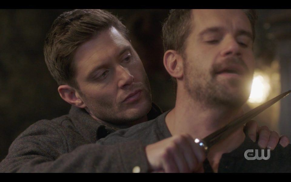 Dean Winchester holding knife to Pax throat SPN