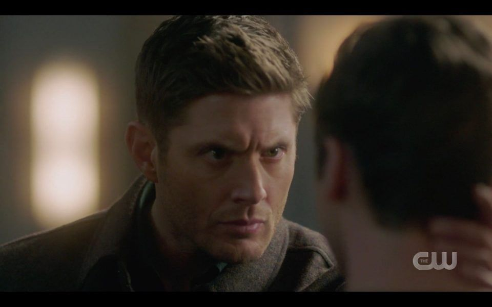 Dean Winchester staring intently in Jacks eyes SPN