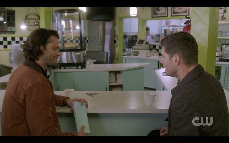 Sam Dean Winchester inside diner