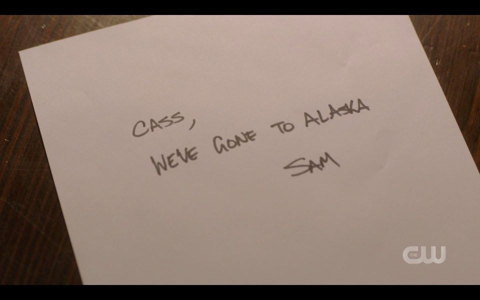 Sam Winchester note to Cas about going to Alaska
