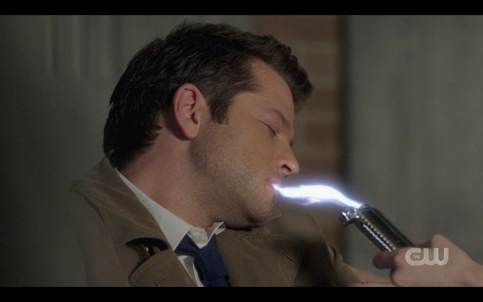 Jack tries giving Castiel his Grace back by shoving it in his mouth SPN 1513