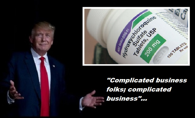 donald trump pushing hydroxycholoroquine to solve covid 19