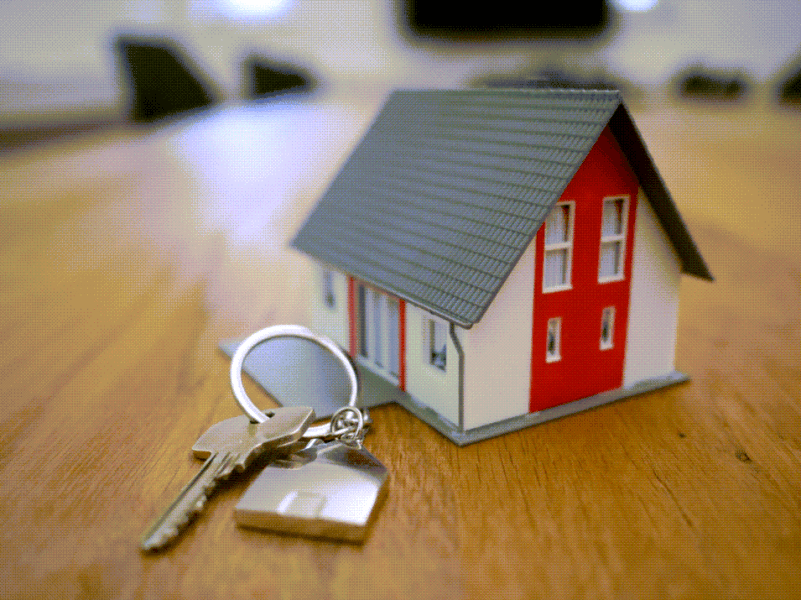 Miniature house with keys next to it 2020