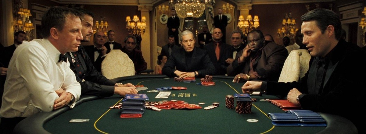 famous casino royale poker scene james bond with red tear man