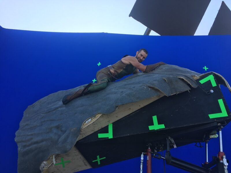 Chace Crawford riding whale bareback for The Boys Season 2