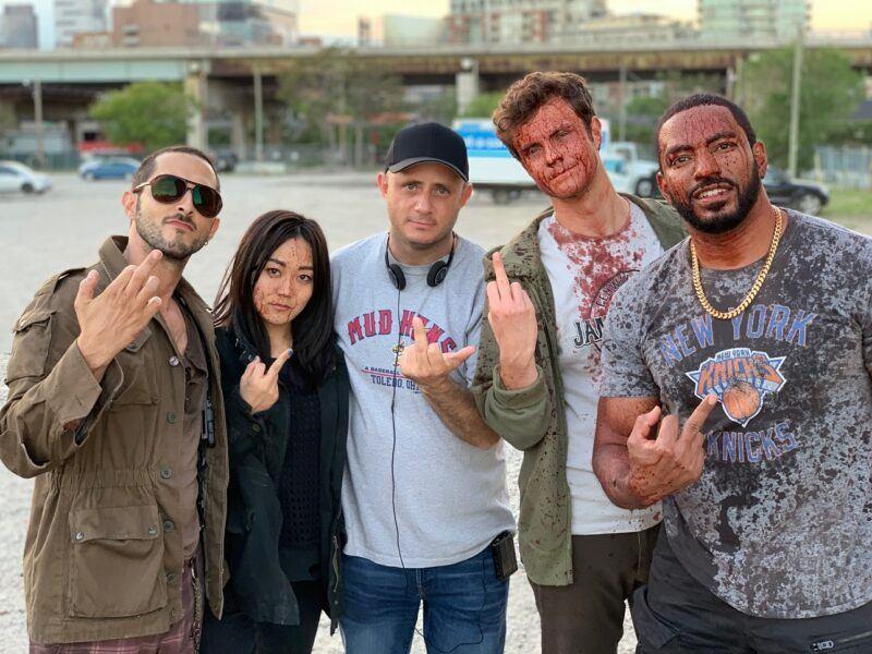 The Boys with Eric Kripke giving finger for Season 2