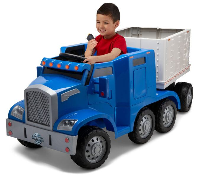 2020 hottest kids toys Semi-Truck and Trailer Ride-On Toy by Kid Trax Blue images