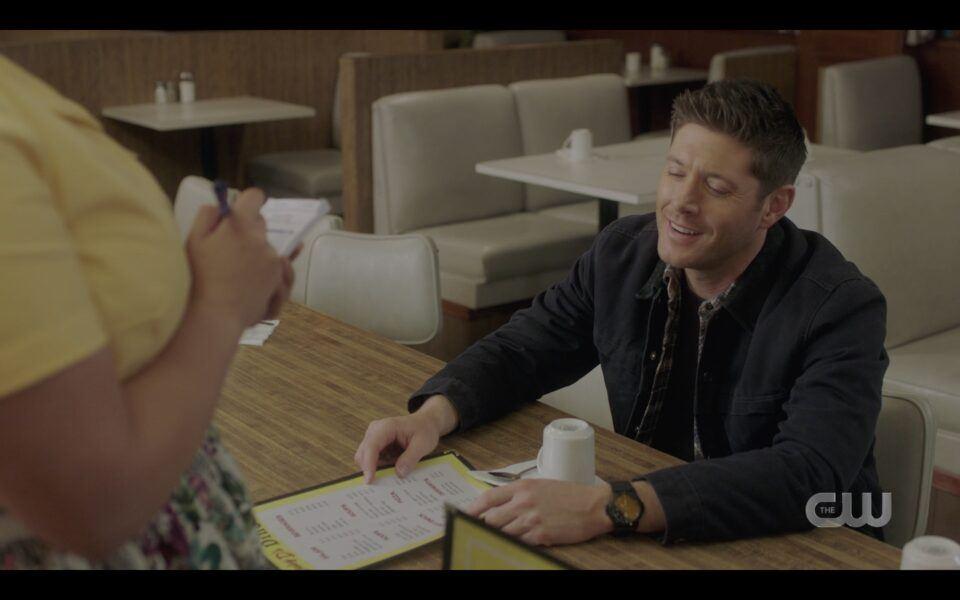 Dean Winchester ordering veggie burger meal at diner SPN 1516