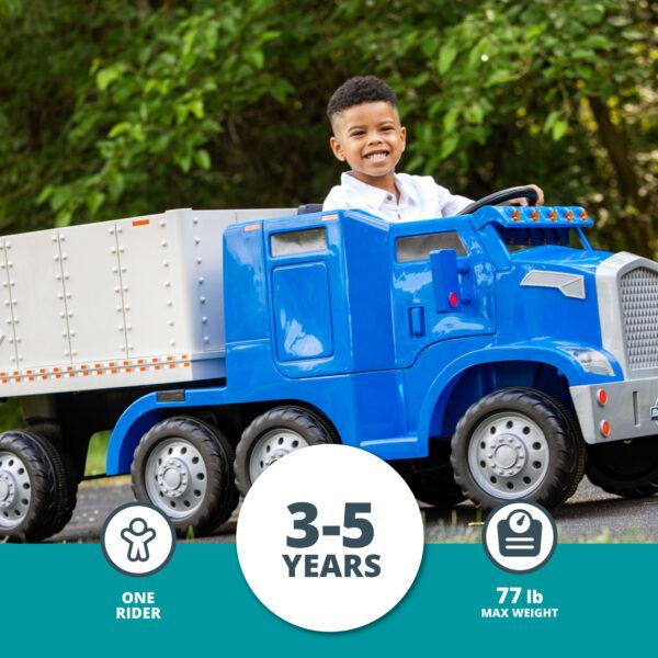 Semi-Truck and Trailer Ride-On Toy by Kid Trax Blue 2020 hottest auto kids toy gifts
