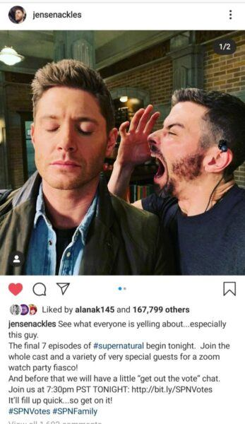 Sexy man yelling into Jenesen Ackles ear on Supernatural 2020