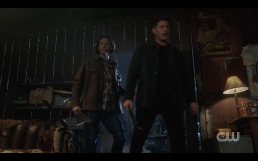 Sam Dean Winchester breaking in on vampires watching Dark Shadows.