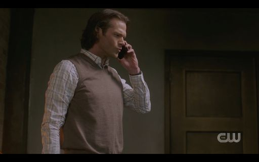 Sam Winchester on phone with Dean about Mrs Butters.