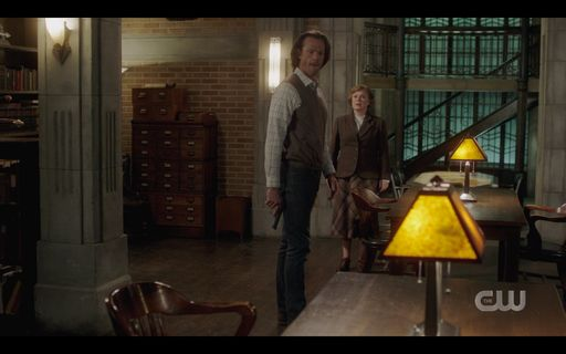 Sam Winchester with Mrs Butters in office.