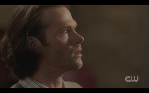 Sam Winchester looking at Mrs Butters powerless.