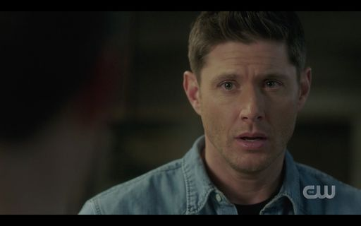 Dean Winchester looking at Jack worried about Sam.