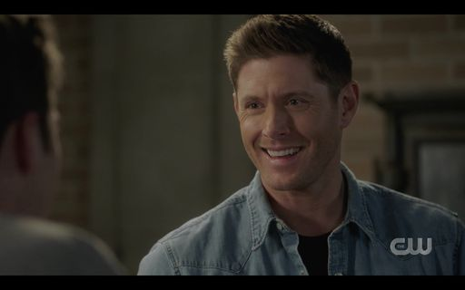 Dean Winchester sexy smile after helping Jack.