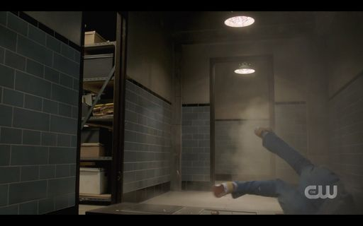 Dean Winchester crashing through basement door SPN.