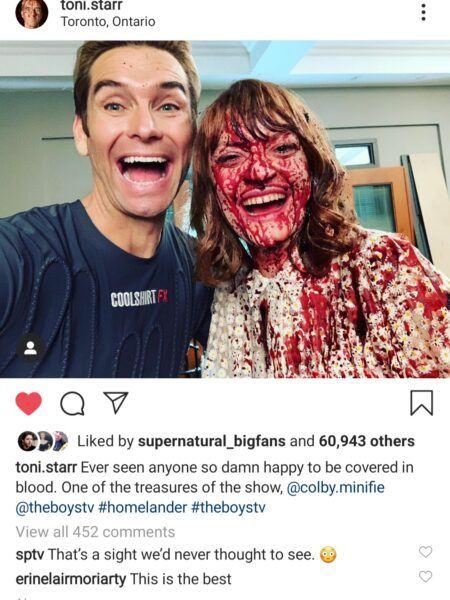 The Boys Antony Starr with Colby Minifie instagram bloody shot MTTG 2020