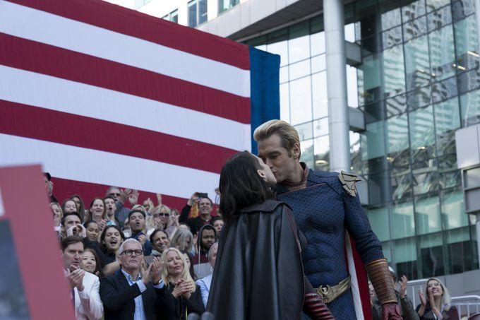 The Boys Homelander Stormfront kissing in public horror 2020