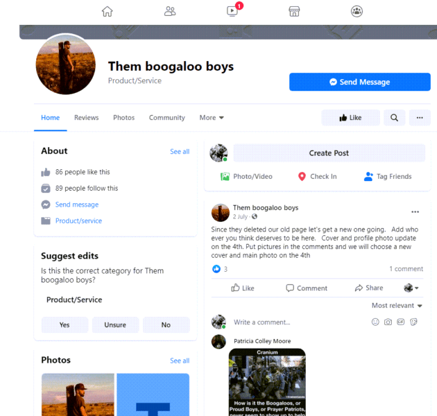 boogaloo boys page on Facebook
